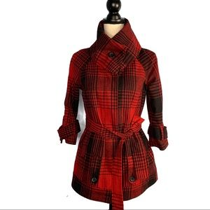 Jack by BB Dakota Red & Black Plaid Pea Coat EUC